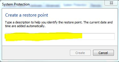 Name Your Restore Point